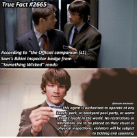 "Its ment to be funny ➖➖➖➖➖➖➖➖➖➖➖➖➖➖➖➖➖➖➖ supernaturalfacts supernaturaltumblr supernatural spn spnfacts dean thecw sam supernaturalfamily Castiel spn12 spnfunny jensenackles supernaturalfunny gifs samwinchester jaredpadalecki menofletters alwayskeepfighting deanwinchester spnfamily winchester cas mishacollins crowley supernaturalseason12 youareenough: True Fact #2665  r  According to ""the Official companion (s1)  Sam's Bikini Inspector badge from  ""Something Wicked"" reads:  @thesam winchester  SThis agentis authorized to operate at any  beach, park, or backyard pool party, or warm  climate locale in the world. No restrictions or  limitations are to be placed on their visual or  physical inspections violators will be subject  to tickling and spanking. Its ment to be funny ➖➖➖➖➖➖➖➖➖➖➖➖➖➖➖➖➖➖➖ supernaturalfacts supernaturaltumblr supernatural spn spnfacts dean thecw sam supernaturalfamily Castiel spn12 spnfunny jensenackles supernaturalfunny gifs samwinchester jaredpadalecki menofletters alwayskeepfighting deanwinchester spnfamily winchester cas mishacollins crowley supernaturalseason12 youareenough"