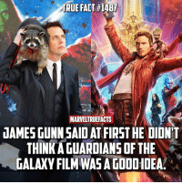 Memes, True, and Good: TRUE FACT# 4B7  MARVE  JAMES GUNN SAID ATFIRST HE DIDNT  THINK A GUARDIANS OF THE  GALAXY FILM WAS A GOOD IDEA. Well it's good that he eventually change his mind! I'm incredibly happy with what he's done with the GOTG films and they've become my favorite part of the MCU. 👏🏻 Make sure you swipe for more info!