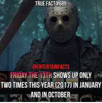 Who knew? Happy Friday the 13th! QOTD: Favourite FT13th movie?: TRUE FACT#689  @ENTERTAIN FACTS  FRIDAY THE 13TH  SHOWS UP ONLY  TWO TIMES THIS YEARC20170IN JANUARY  AND IN OCTOBER Who knew? Happy Friday the 13th! QOTD: Favourite FT13th movie?