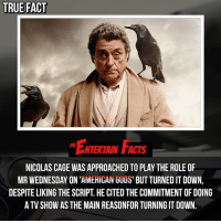 Who knew? That's respectable. QOTD: Do you think Nicholas Cage would've been good in this role? 🎥 • strangerthings gameofthrones thewalkingdead gotham arrow cars3 justiceleague movies thehouse tvshows theflash warfortheplanetoftheapes themist americangods youtube got marvel fearthewalkingdead starwars dbz mw love followme wwe like spiderman babydriver transformers homecoming show: TRUE FACT  ENTERTAIN FACTS  NTERTAIN FACTS  NICOLAS CAGE WAS APPROACHED TO PLAY THE ROLE OF  MR WEDNESDAY ON 'AMERICAN GODS' BUT TURNED IT DOWN,  DESPITE LIKING THE SCRIPT. HE CITED THE COMMITMENT OF DOING  A TV SHOW AS THE MAIN REASONFOR TURNING IT DOWN. Who knew? That's respectable. QOTD: Do you think Nicholas Cage would've been good in this role? 🎥 • strangerthings gameofthrones thewalkingdead gotham arrow cars3 justiceleague movies thehouse tvshows theflash warfortheplanetoftheapes themist americangods youtube got marvel fearthewalkingdead starwars dbz mw love followme wwe like spiderman babydriver transformers homecoming show