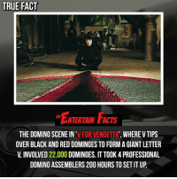 Bailey Jay, Do It Again, and Facts: TRUE FACT  ENTERTAIN FACTS  THE DOMINO SCENE IN'V FOR VENDETTA', WHERE V TIPS  OVER BLACK AND RED DOMINOES TO FORM A GIANT LETTER  V INVOLVED 22,000 DOMINOES. IT TOOK 4 PROFESSIONAL  DOMINO ASSEMBLERS 200 HOURS TO SET IT UP Who knew? Imagine if they didn't film this and had to do it again! QOTD: Favourite scene from 'V for Vendetta'? 🎥 • strangerthings gameofthrones thewalkingdead gotham arrow cars3 justiceleague movies thehouse tvshows theflash tlk themist americangods youtube got marvel fearthewalkingdead starwars dbz mw love followme wwe like spiderman babydriver transformers homecoming film