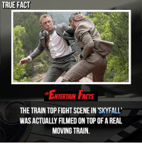 Dope, Facts, and Love: TRUE FACT  ENTERTAIN FACTS  THE TRAIN TOP FIGHT SCENE IN SKYFALL  WAS ACTUALLY FILMED ON TOP OF A REAL  MOVING TRAIN. Who knew? This was a dope scene! QOTD: Favourite jamesbond movie? 🎥 • strangerthings gameofthrones thewalkingdead gotham arrow cars3 justiceleague movies thehouse tvshows theflash tlk themist americangods youtube got marvel fearthewalkingdead starwars dbz mw love followme wwe like spiderman babydriver transformers homecoming
