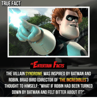 True Fact Ntertain Facts The Villain Syndrome Was Inspired By Batman And Robin Brad Bird Director Of The Incredibles Thought To Himself What If Robin Had Been Turned Down By Batman And