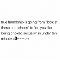"Cute, Funny, and Memes: true friendship is going from ""ook at  these cute shoes"" to ""do you like  being choked sexually"" in under ten  minutes Aosarcasm only SarcasmOnly"