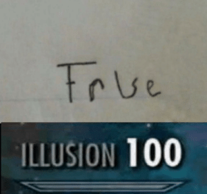 True, Illusion, and 100: True  ILLUSION 100