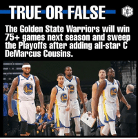 Warriors: TRUE OR FALSE  The Golden State Warriors will win  7o+ games next season and sweep  the Playoffs after adding all-star C  DeMarcus Cousins.  35  23  30