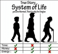 Share if you agree !: True Story...  System of Life  you are Normal, That why be Ungiue  nergy Share if you agree !