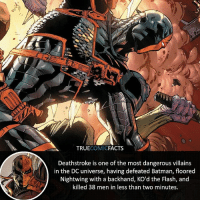 Batman, Facts, and Joker: TRUECOMICFACTS  Deathstroke is one of the most dangerous villains  in the DC universe, having defeated Batman, floored  Nightwing with a backhand, KO'd the Flash, and  killed 38 men in less than two minutes. New layout! What do you guys think? ⠀_______________________________________________________ superman joker redhood martianmanhunter dc batman aquaman greenlantern ironman like spiderman deadpool deathstroke rebirth dcrebirth like4like facts comics justiceleague bvs suicidesquad benaffleck starwars darthvader marvel flash reverseflash stanlee sladewilson