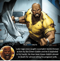 Batman, Facts, and Green Goblin: TRUECOMICFACTS  Luke Cage once caught a pumpkin bomb thrown  at him by the Green Goblin and let it exploded  in his hands. He then beat Green Goblin almost  to death for almost killing his pregnant wife. Like Cage! ⠀_______________________________________________________ superman joker redhood martianmanhunter dc batman aquaman greenlantern ironman like spiderman deadpool deathstroke rebirth dcrebirth like4like facts comics justiceleague bvs suicidesquad benaffleck starwars darthvader marvel flash reverseflash danielwest blackadam