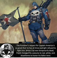 America, Batman, and Facts: TRUECOMICFACTS  The Punisher's respect for Captain America is  so great that he has at times outright refused to  fight him. When Cap was temporarily dead,  Frank changed his costume to red, white, and  bluetheme to honor his fallen hero. Captain America Punisher! ⠀_______________________________________________________ superman joker redhood martianmanhunter dc batman aquaman greenlantern ironman like spiderman deadpool deathstroke rebirth dcrebirth like4like facts comics justiceleague bvs suicidesquad benaffleck starwars darthvader marvel flash reverseflash punisher captainamerica