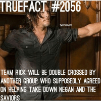 """Memes, 🤖, and Twd: TRUEFACT #2056  TWDTRUEFACTS  TEAM RICK WILL BE DOUBLE CROSSED BY  ANOTHER GROUP WHO SUPPOSEDLY AGREED  ON HELPING TAKE DOWN NEGAN AND THE  SAVIORS Don't worry, Daryl does not betray the group, the picture is just to get those Norman fangirls """"excited"""" TWD TheWalkingDead WalkingDead NormanReedus DarylDixon"""