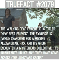 "Memes, 🤖, and Twd: TRUEFACT #2079  TWDTRUEFACTS  s  THE WALKING DEAD EPISODE 10 IS TITLED  ""NEW BEST FRIENDS"" THE SYNOPSIS IS  ""WHILE SEARCHING FOR A MISSING  ALEXANDRIAN RICK AND HIS GROUP  ENCOUNTER A MYSTERIOUS COLLECTIVE ITS  INHABITANTS UNLIKE ANY THEY HAVE COME  ACROSS (THE JUNKYARD GROUP Episode 10, New Best Friends. TWD TheWalkingDead WalkingDead"