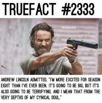 """Since my man has left for NY🗽 You'll have to put up with me until Monday💁🏼.. TheWalkingDead TWD WalkingDead - Co-Owner: TRUEFACT #2333  TWDTRUEFACTS  ANDREW LINCOLN ADMITTED, """"TM MORE EXCITED FOR SEASON  EIGHT THAN IVE EVER BEEN. IT'S GOING TO BE BIG, BUT IT'S  ALSO GOING TO BE TERRIFYING. AND I MEAN THAT FROM THE  VERY DEPTHS OF MY CYNICAL SOUL."""" Since my man has left for NY🗽 You'll have to put up with me until Monday💁🏼.. TheWalkingDead TWD WalkingDead - Co-Owner"""