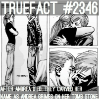 Memes, Andrea, and 🤖: TRUEFACT #2346  TWDTRUEFACTS  AFTER ANDREA DIED THEY CARVEDHER  NAME AS ANDREA GRIMES ON HER TOMB STONE Brandon got teary eyed🙊 TheWalkingDead TWD WalkingDead TheWalkingDeadComic