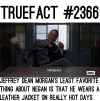 Memes, 🤖, and Twd: TRUEFACT #2366  TWDTRUEFACTS  aMc  JEFFREY DEAN MORGAN'S LEAST FAVORITE  THING ABOUT NEGAN IS THAT HE WEARS A  LEATHER  JACKET ON REALLY HOT DAYS 😂😂 thewalkingdead twd walkingdead