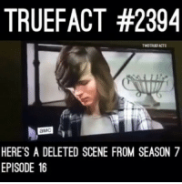 Life, Memes, and Lost: TRUEFACT #2394  WDTRUEFACTS  aMC  HERE'S A DELETED SCENE FROM SEASON 7  EPISODE 16 Carl must be pissed because it almost happened again .. Except that he almost lost his life instead of his arm.. Twd TheWalkingDead walkingdead