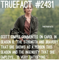 Memes, Work, and Live: TRUEFACT #2431  TWDTRUEFACTS  SCOTT GIMPLE COMMENTED ON CAROL IN  SEASON 8. THE STRENGTH AND BRAVERY  THAT SHE SHOWS AS A PERSON THIS  SEASON AND THE INGENUITY THAT SHE  EMPLOYS.. IS VERY SATISFYING. Hi from the new Owner🙋🏼 There will be a LIVE Q&A from me at 12 O'Clock midnight tonight for UK time. (If you are from another continent then please let me know and I will work out what time the LIVE Q&A will be for you.) Now this is mainly to answer any questions about Brandon quitting TWDTrueFacts, *although as my boyfriend, he'll always be around*, and any questions you have about me. Time to say Hi👩🏼‍💻🤳🏻. TheWalkingDead TWD WalkingDead