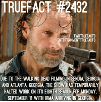 Memes, The Walking Dead, and Work: TRUEFACT #2432  TWDTRUEFACTS  ENTERTAINMENTTRUEFACTS  DUE TO THE WALKING DEAD FILMINGIN SENOIA GEORGIA  AND ATLANTA, GEOGIA THE SHOW HAS TEMPORARILY  HALTED WORK ON ITS EIGHTH SEASON FOR MONDAY  SEPTEMBER 11 WITH IRMA ARRIVING IN GEORGIA My friend dealt with Irma when she was category 3 when it was dying down to a category 1 hurricane last night. He said the storm lasted all night and with very heavy winds and a lot of damage. Though the storm is now a tropical storm, it's not one to be messed with. Hope for the best for the cast and crew. TheWalkingDead TWD WalkingDead @entertainmenttruefacts And also to those who have suffered the devastating affects of the Hurricane, look out for each other and support each other as best you can.