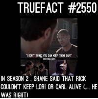 Alive, Memes, and Shane: TRUEFACT #2550  DON'T THINK YOU CAN KEP THEM SAFE  TWDTRUEFACT  IN SEASON 2, SHANE SAID THAT RICK  COULDN'T KEEP LORI OR CARL ALIVE (. HE  WAS RIGHT) Shane was right all along... TWD TheWalkingDead WalkingDead