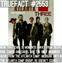 Alive, Memes, and Death: TRUEFACT #2553  TWDTRUEFACTS  THIREE  NOW THAT CARL IS MOMENTS AWAY FROM DEATH  RICK, CAROL AND DARYL ARETHE ONLY MEMBERS  ALIVE FROM THE ATLANTA CAMP. (MORGAN ISNT IN  THE ATLANTA CAMP GROUP, HE DOESN'T COUNT) I found making this background very emotional... TheWalkingDead TWD WalkingDead