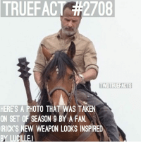 Memes, Taken, and Awesome: TRUEFACT  2708  TWDTRUEF ACTS  HERES A PHOTO THAT WAS TAKEN  ON SET OF SEASON 9 BY A FA.  RICK'S NEW WEAPON LOOKS INSPIRED  BY LUCILLE) This looks awesome! If you know who the photographer is then please tag them! 😊 TheWalkingDead TWD WalkingDead