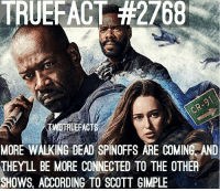 Excited to see more Spin-off's ? walkingdead thewalkingdead twd: TRUEFACT #2768  RUEFACT  MORE WALKING DEAD SPINOFFS ARE COMINE AND  THEYL BE MORE CONNECTED TO THE OTHER  SHOWS, ACCORDING TO SCOTT GIMPLE Excited to see more Spin-off's ? walkingdead thewalkingdead twd