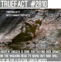 He's 100% dying in the movie because Rick Grimes WILL NOT be back on the show. walkingdead thewalkingdead twd Cr @entertainmenttruefacts: TRUEFACT #2810  TWDTRUEFACTS  ENTERTAINMENTTRUEFACTS..'  ANDREW LINCOLN IS DONE PORTRAYING RICK GRIMES  ON THE WALKING DEAD TV SHOW, BUT RICK WILL  LIVE ON FOR 3 FEATURE LENGTH MOVIES. He's 100% dying in the movie because Rick Grimes WILL NOT be back on the show. walkingdead thewalkingdead twd Cr @entertainmenttruefacts