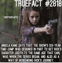 New future. twd walkingdead thewalkingdead: TRUEFACT #2818  TWDTRUEFACTS  ANGELA KANG SAYS THAT THE SHOWS SIX-YEAR  TIME-JUMP WAS DESIGNED IN PART TO GET RICK'S  DAUGHTER JUDITH TO THE SAME AGE THAT CARIL  WAS WHEN THE SERIES BEGAN, AND ALSO AS A  WAY OF B00KENDING RICK'S JOURNEY. New future. twd walkingdead thewalkingdead