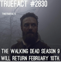 February 10th. Whisperers are finally here. twd thewalkingdead walkingdead Cr @entertainmenttruefacts: TRUEFACT #2830  TWDTRUEFACTS  THE WALKING DEAD SEASON 9  WILL RETURN FEBRUARY 10TH February 10th. Whisperers are finally here. twd thewalkingdead walkingdead Cr @entertainmenttruefacts