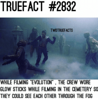 """Remember when I used to post facts like this? 😂😂 walkingdead thewalkingdead twd: TRUEFACT #2832  TWDTRUEFACTS  WHILE FILMING """"EVOLUTION"""" THE CREW WORE  GLOW STICKS WHILE FILMING IN THE CEMETERY SO  THEY COULD SEE EACH OTHER THROUGH THE FOG Remember when I used to post facts like this? 😂😂 walkingdead thewalkingdead twd"""