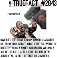 This was probably the best issue this year , damn. What a way to end off the year. twd thewalkingdead walkingdead: TRUEFACT #2843  TWDTRUEFACTS  DWIGHT'S THE FIRST KNOWN NAMED CHARACTER  KILLED BY RICK GRIMES SINCE ISSUE 123 WHERE HE  DIRECTLY KILLS A NAMED CHARACTER WILLINGLY  ALL OF HIS KILLS AFTER ISSUE 123 HAD BEEN  ACCIDENTAL, IN SELF-DEFENSE OR ZOMBIFIED. This was probably the best issue this year , damn. What a way to end off the year. twd thewalkingdead walkingdead