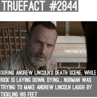So Norman accidentally spoiled that Rick dies on-screen rather than off-screen now.. hmm 🤔 twd thewalkingdead walkingdead: TRUEFACT #2844  TWDTRUEFACTS  DURING ANDREW LINCOLN'S DEATH SCENE, WHILE  RICK IS LAYING DOWN, DYING... NORMAN WAS  TRYING TO MAKE ANDREW LINCOLN LAUGH BY  TICKLING HIS FEET So Norman accidentally spoiled that Rick dies on-screen rather than off-screen now.. hmm 🤔 twd thewalkingdead walkingdead