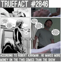 Comics are still strong 💪 twd walkingdead thewalkingdead: TRUEFACT #2846  I'M.. IN AND OUT I THNK I  JUST CAUGHT TH트 ENC)  THAT. YOU HAVE ME AND  DONT WANT TO KILL  5O WHAT  NOW?  NOW WE  REBUILD. WE'RE  CONG TO UNDO  ALL THE DAMAGE YOU  DD... AND WTH YOU  OUT O THE WAY  WE'RE GONG  TO THRIVE  WE'RE NOT  GOING TO KILL YOu  WE'RE NOT GOINGS TO  HURT YOu. You'RE  GOING TO ROT IN  A CELL...  I'M GOING TO  KEEP YOU ALIVE..  I'M GOING TO  MAKE YOU WATCH  WHAT WE BECOME S0  THAT YOU CAN SEE  HOW WRONG YOU  WERE... HOW MLICH  YOU WERE HOLDNG  US BACK.  You'RE GOING  TO  BE EVIDENCE  THAT WE'RE MAKING A  CIVILIZATION. SOMETHING  LIKE WHAT WE HAD  SOMETHING WE'RE  GONNA GET BACK.  YOURE GONG  TO ROT IN JAL  UNTIL you 뎌트  AN OLD MAN,  NEGAN.  YOu ALIVE IS  GOING TO HELP SHOW  PEOPLE THINGS HAVE  CHANGED. KEEPING YOU  BREATHING EARNS ANOTHER  WAY, A BETTER WAY.  THAT'S THE PART  youLL PLAY  YOURE  FUCKED.  TWDTRUEFACTS  ACCORDING TO ROBERT KIRKMAN, HE MAKES MORE  MONEY ON THE TWD COMICS THAN THE SHOW Comics are still strong 💪 twd walkingdead thewalkingdead