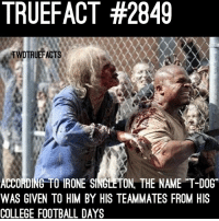 Theodor Douglas. thewalkingdead twd walkingdead: TRUEFACT #2849  TWDTRUEFACTS  ACCORDING TO IRONE SINGLETON, THE NAME T-DOG  WAS GIVEN TO HIM BY HIS TEAMMATES FROM HIS  COLLEGE FOOTBALL DAYS Theodor Douglas. thewalkingdead twd walkingdead