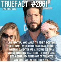 "Sending Jon and his family all our well wishes✨: TRUEFACT #2861  TWDTRUEFACTS  JON BERNTHAL WAS ABOUT TO START SHOOTING  ""FIRST MAN"", WITH HIS CO-STAR RYAN GOSLING.  WHEN HIS DAUGHTER HAD A SEIZURE DUE TO A  MEDICAL CONDITION THAT RESULTED IN HER GOING  INTO A COMA. JON PULLED OUT OF THE MOVIE  AND SINCE, ADELINE HAS RECOVERED. Sending Jon and his family all our well wishes✨"