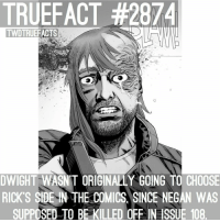 Who reads the comics? TheWalkingDead TWD WalkingDead: TRUEFACT #2874  TWDTRUEFACTS  DWIGHT WASN'T ORIGINALLY GOING TO CHOOSE  RICK'S SIDE-IN THE COMICS, SINCE NEGAN WAS  SUPPOSED TO BE KILLED OFF IN ISSUE 108 Who reads the comics? TheWalkingDead TWD WalkingDead