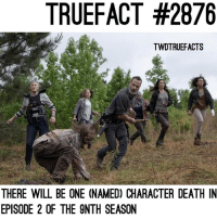 """Memes, Stitches, and Death: TRUEFACT #2876  TWDTRUEFACTS  THERE WILL BE ONE (NAMED) CHARACTER DEATH IN  EPISODE 2 OF THE 9NTH SEASON Who do you think it is? Here's a hint: rick says """"If I ever see you again, stitches won't fix what I do to you."""" walkingdead twd thewalkingdead"""