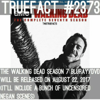 Memes, The Walking Dead, and Zombies: TRUEFACT #2973  TAL H  THE C O M PLETE SEVENTH SEASON  TWDTRUEFACTS  THE WALKING DEAD SEASON 7 BLURAY/DVD  WILL BE RELEASED ON AUGUST 22, 2017  IT'LL INCLUDE A BUNCH OF UNCENSORED  NEGAN SCENES twd thewalkingdead season8 apocalypse zombie zombies zombieapocalypse sundayswillbedeadtome sundaysbelongtothedead sundaysaredeadtome isitoctoberyet riseup supportthegore jeffreydeanmorgan negan lucciell twdtruefacts_