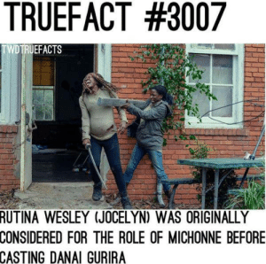 Fun fact.: TRUEFACT #3007  TWDTRUEFACTS  RUTINA WESLEY (JOCELYN) WAS ORIGINALLY  CONSIDERED  FOR THE ROLE OF MICHONNE BEFORE  CASTING DANAI GURIRA Fun fact.