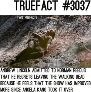 Hmm..: TRUEFACT #3037  TWDTRUEFACTS  ANDREW LINCOLN ADMITTED TO NORMAN REEDUS  THAT HE REGRETS LEAVING THE WALKING DEAD  BECAUSE HE FEELS THAT THE SHOW HAS IMPROVED  MORE SINCE ANGELA KANG TOOK IT OVER Hmm..