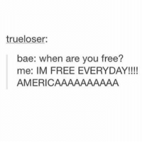 fuck America: trueloser:  bae: when are you free?  me: IM FREE EVERYDAY!!  AMERIC  AAAAAAAAA fuck America