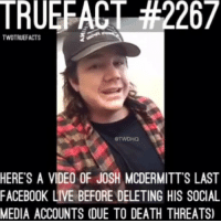 He's not wrong. walkingdead thewalkingdead twd eugeneporter joshmcdermitt @twd_hq: TRUERACT 42267  TWDTRUEFACTS  HERE'S A VIDEO OF JOSH MCDERMITT S LAST  FACEBOOK LIVE BEFORE DELETING HIS SOCIAL  MEDIA ACCOUNTS (DUE TO DEATH THREATS) He's not wrong. walkingdead thewalkingdead twd eugeneporter joshmcdermitt @twd_hq