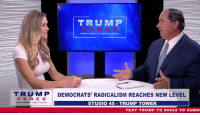 America, Desperate, and Power: TRUM P  MAKE AMERICA GREAT AGAINI  TRUMP  PENCE  MAKE AMERICA GRETGN  DEMOCRATS' RADICALISM REACHES NEW LEVEL  STUDIO 45 TRUMP TOWER  TEXT TRUMP T0 88022 TO SUBS Democrats are determined to take back power by using any means necessary. The closer we get to the midterms, the more desperate they get!