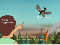 "Eagle, Http, and Rabbit: Trum  The Economy  Trump  Supporters  that eagle is carrying  that rabbit out of harm's way <p>Perhaps a plausible format. Variety of possible applications. via /r/MemeEconomy <a href=""http://ift.tt/2G3PR2r"">http://ift.tt/2G3PR2r</a></p>"