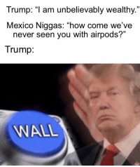 "Mexico might be on to somethin: Trump: ""1 am unbelievably wealthy.  Mexico Niggas: ""how come we've  35  never seen you with airpods?""  Trump  WALL Mexico might be on to somethin"