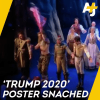 "This Frozen actor has a message for a Trump supporter who waved his pro-Trump banner during the musical:   ""Not in front of my beautiful, diverse, talented cast ..."": 'TRUMP 2020  POSTER SNACHED This Frozen actor has a message for a Trump supporter who waved his pro-Trump banner during the musical:   ""Not in front of my beautiful, diverse, talented cast ..."""
