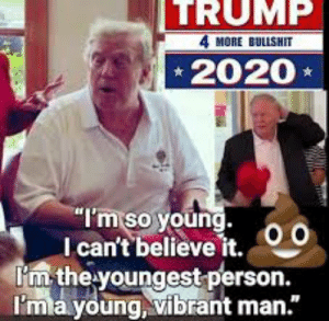 """Genius, Trump, and Man: TRUMP  4 MORE BULISHIT  2020  I'm so young.  I can't believe it.  I'm the youngest person.  I'mla young, vibrant man."""" Young Stable Genius"""