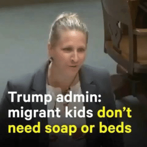 """Arguing, Children, and Click: Trump admin:  migrant kids don't  need soap or beds She actually is standing up to say """" soap, toothbrush , sleep """" not required #inhumane   Dogs have blankets , sweaters , treats  Posted @withrepost • @nowthispolitics A Justice Department lawyer tried to argue that detained children don't need soap, toothbrushes, or beds to be 'safe and sanitary' while in Border Patrol custody. To watch the full video, click the link in our bio 🔗"""