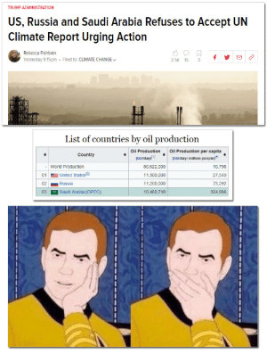Shocked. SHOCKED. by dickfromaccounting MORE MEMES: TRUMP ADMINISTRATION  US, Russia and Saudi Arabia Refuses to Accept UN  Climate Report Urging Action  Rebecca Fishbein  Yesterday 9:15pm Filed to: CLIMATE CHANGE  2.5K 15 3f  List of countries by oil production  Oil ProductionOil Production per capita  Country  (bbl/day)!1  (bbl/day/ million people)5  - World Production  01 United States(e)  02Russia  03 Saudi Arabia (OPEC)  80,622,000  11,300,000  11,200,000  10,460,710  10,798  27,549  73,292  324,866 Shocked. SHOCKED. by dickfromaccounting MORE MEMES