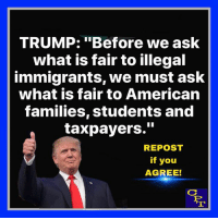 "Memes, American, and Trump: TRUMP: ""Before we ask  what is fair to illegal  immigrants, we must ask  what is fair to American  families, students and  taxpayers.""  REPOST  if you  AGREE! Agree"